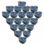 20 Adet Açık Mavi Tealight Kalp Şeklinde Renkli Küçük Mumlar