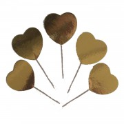20 Adet Altın Sarısı-Gold Kalp Şeklinde Karton Cupcake Kürdan