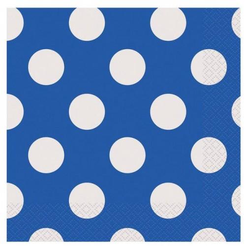 20 Adet Beyaz Puantiyeli Mavi Doğum Günü Parti Peçetesi