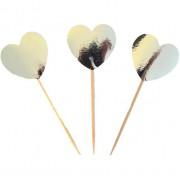 20 Adet Gümüş Gri Kalp Şeklinde Karton Cupcake Kürdanı