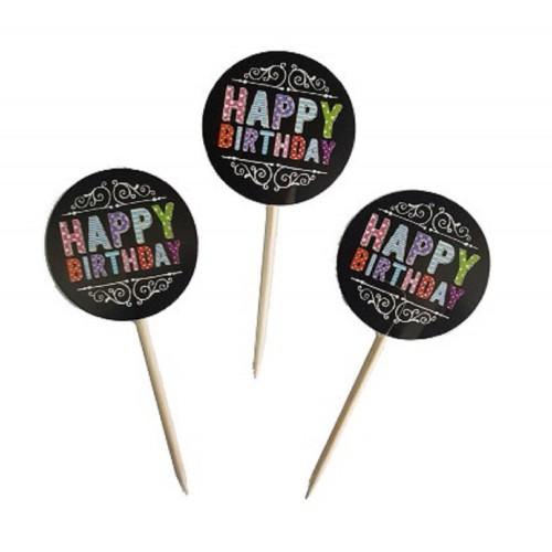 20 Siyah Happy Birthday Yazılı Cup Cake Kek Parti Sunum Kürdanı