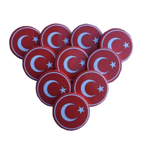 20 Adet Kırmızı Ay Yıldız Türk Bayrağı Yaka Rozeti