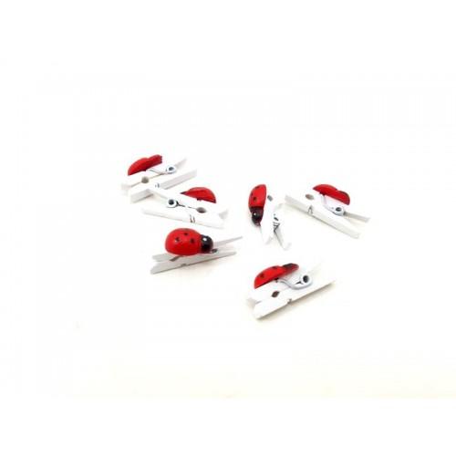 20 Adet Kırmızı-Beyaz Mandallı Uğur Böceği, 3.5 cm Mandal Ataç