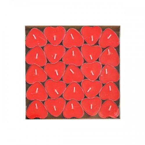 20 Adet Kırmızı Kalp Şeklinde Küçük Kalpli Tealight Mumlar