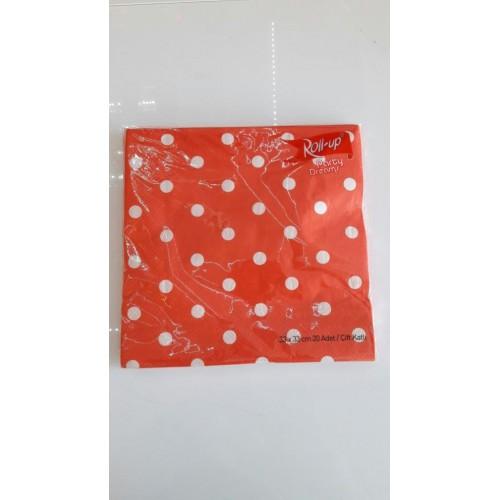 20 ADET Kırmızı Puantiyeli Peçete 33 cm x 33 cm Doğum Günü Parti