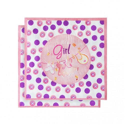 20 Adet Kız Baby Shower Partisi Konsepti Peçetesi