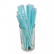 25 Adet Mavi Beyaz Puantiyeli Karton Pipet Parti Pipetleri