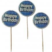 20 Adet Mavi Happy Birthday Yazılı Sunum Kürdanı