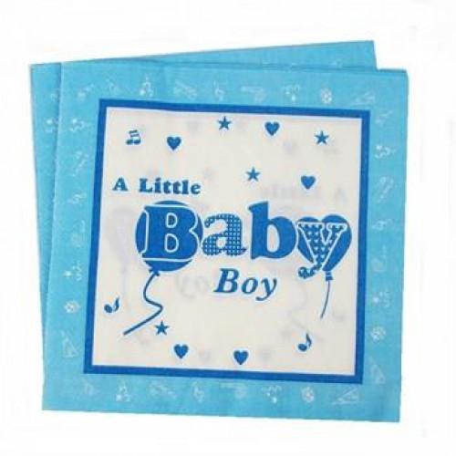 20 Adet A Little Baby Boy Mavi Peçete Erkek Doğum Odası