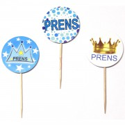 20 Adet Mavi Prens Temalı Cupcake Kürdanı, Doğum Odası Kek Sunumu