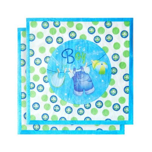 20 Adet Mavi ve Yeşil Renk İt's a Boy Yazılı Puantiyeli Peçete