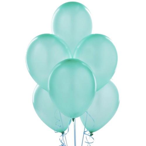 20 Adet Metalik Parlak Mint Yeşili Turkuaz Balon Helyumla Uçan