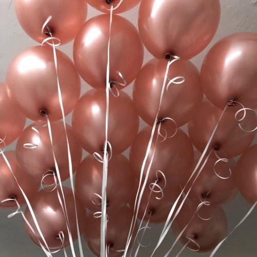20 Adet Metalik Sedefli Toz Pembe (Bakır) Balon, Helyumla Uçan