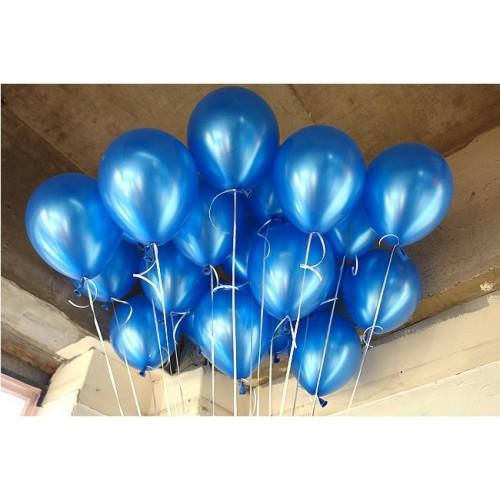 20 Adet Metalik Parlak Koyu Mavi(Lacivert) Balon Helyumla Uçan
