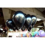 20 adet Sedefli Parlak Metalik Siyah Balon Helyumla Uçan