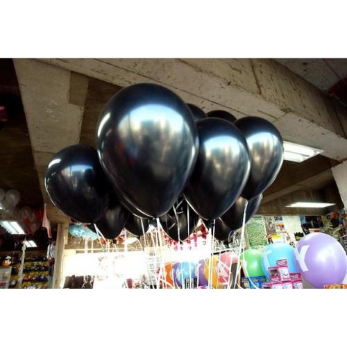 20 ADET METALİK SEDEFLİ SİYAH BALON Doğum Günü Helyumla Uçan