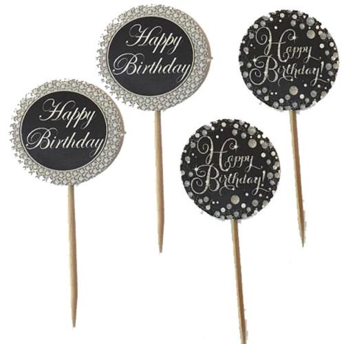 20 Adet siyah,gri happy Birthday Yazılı Sunum Kürdanı
