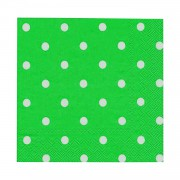 20 ADET Yeşil Üstü Beyaz Puantiyeli 33 x 33 Doğum Günü Parti