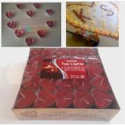 20 Kırmızı Kalp Mum Tea light + 300 Kuru Gül Yaprakları
