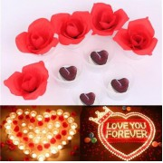 20 Kırmızı Tealight Kalp Mum+20 Mum Kabı+250 Ad Yapay Gül Yaprağı