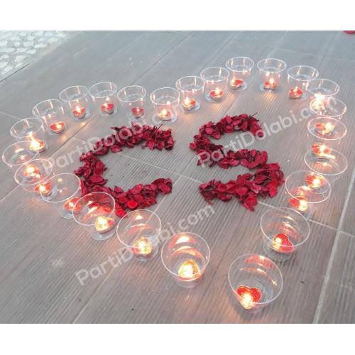 20 Kırmızı Küçük Kalp Mum+20 Mum Bardağı Kabı+350 Ad. Kuru Gül