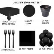 20 Kişilik Siyah Doğum Günü Parti Malzemeleri Konsepti