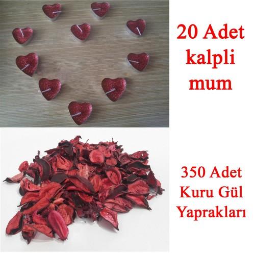 20 Mum + 350 Kuru Gül Yaprağı, Kalpli Mum ve Kuru Gül Yaprakları