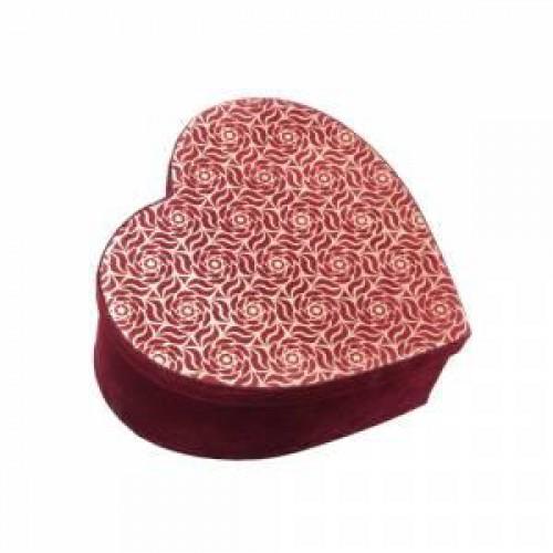 20x20 Bordo Kadife Kalp Şeklinde Kutu, Kalpli Hediye Kutusu
