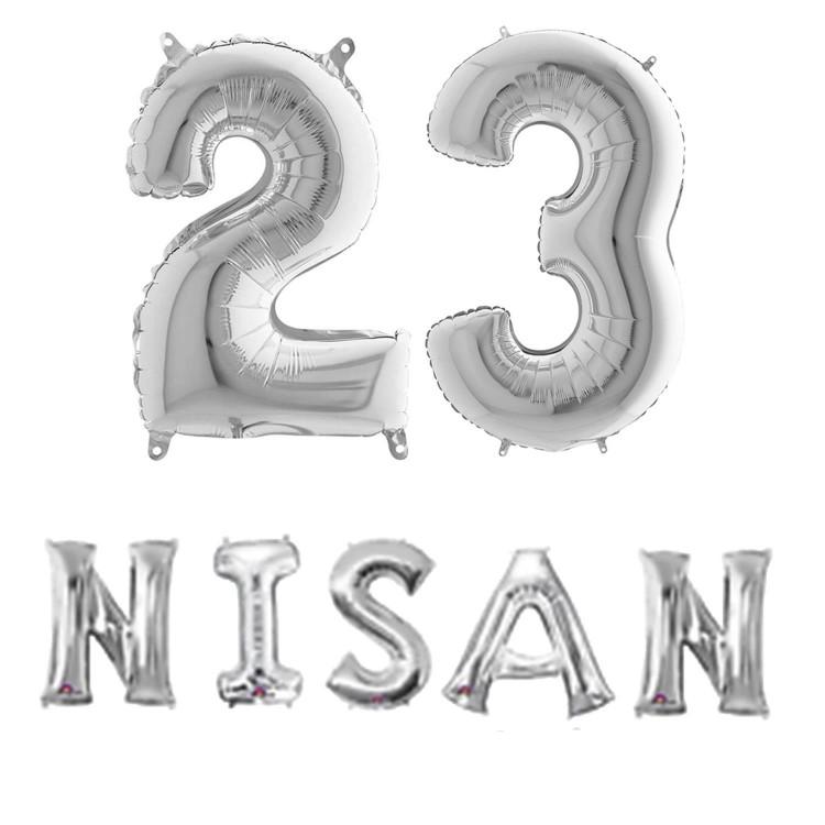 23 Nisan Balonu Ev Okul Sinif Susleme Folyo Balon Seti