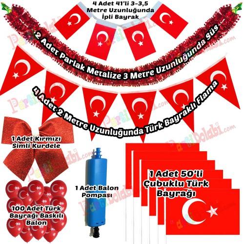 23 Nisan Türk Bayraklı Balonlu Süsleme Paketi