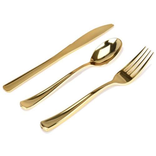 24 Adet Gold Altın Rengi Plastik Lüks Çatal Bıçak Kaşık Takımı