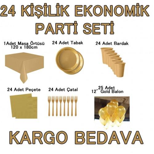 24 Kişi 12 Parça Altın Sarısı Gold Parti Malzemeleri Seti Konsept