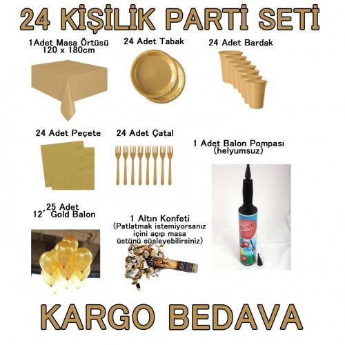 24 Kişilik 14 Parça Altın Sarısı Gold Standart Parti Süs Seti Konsept Ürünler