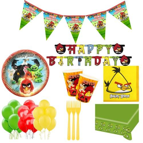 24 Kişilik Angry Birds Doğum Günü Konsepti Bardak Çatal Balon Seti