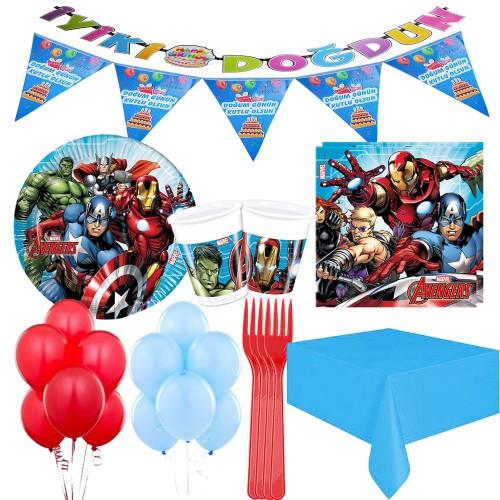 24 Kişilik Avengers Lüks Parti Seti, Yenilmezler Tabak Bardak vb