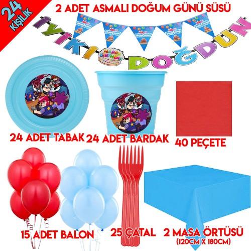 24 Kişilik Brawl Star Doğum Günü Temalı Parti Malzemeleri Seti