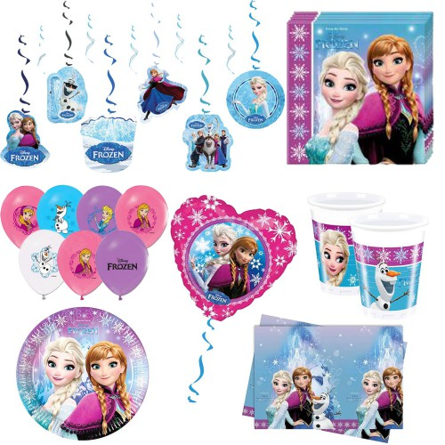 24 kişilik Elsa Frozen Karlar Ülkesi Anna Parti Malzemeleri Doğum Günü Seti