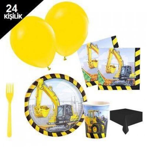 24 Kişilik İnşaat Partisi Malzemeleri Paketi Set 12 Parça Doğum Günü
