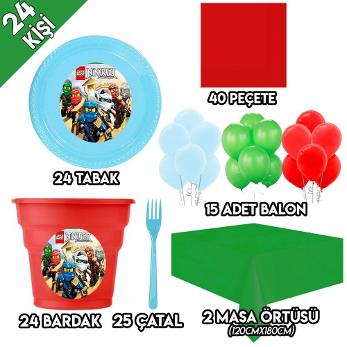 24 Kişilik Lego Ninjago Parti Süsleri, Ninjago Doğum Günü Süsleri