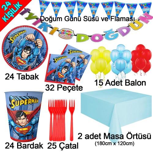 24 Kişilik Lüks Superman Doğum Günü Konsepti Çatal Tabak Balon vb