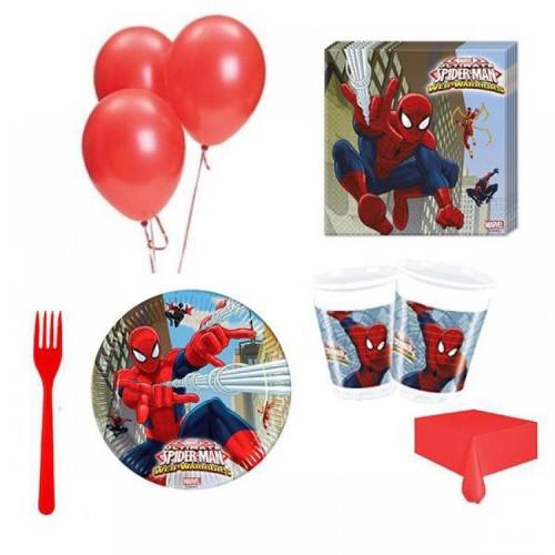 24 Kişilik Örümcek Adam Doğum Günü Teması Parti Seti, Spiderman