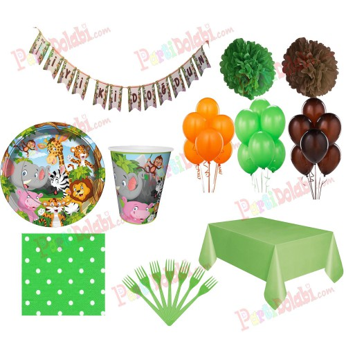 24 Kişilik Safari Temalı Doğum Günü Parti Malzemeleri Seti