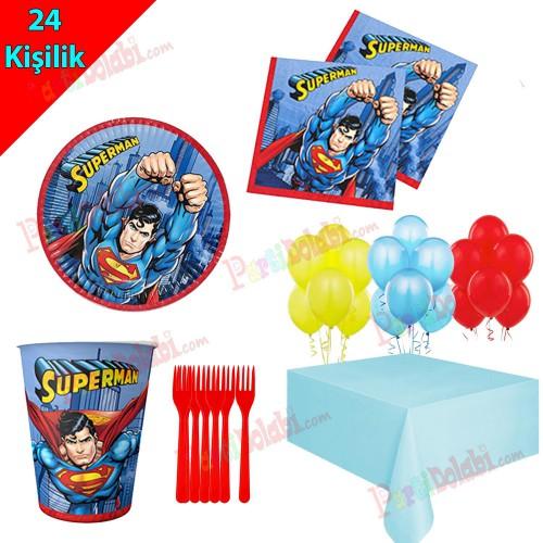 24 Kişilik Superman Temalı Doğum Günü Seti, Tabak Bardak Çatal