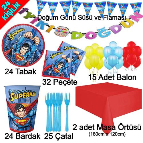 24 Kişilik Superman Temalı Doğum Günü Süsleri, Tabak Bardak Çatal