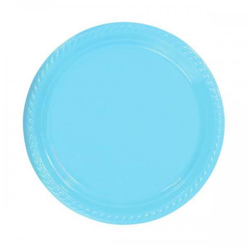 25 Adet Açık Mavi Plastik Kullan At Doğum Günü Parti Tabağı