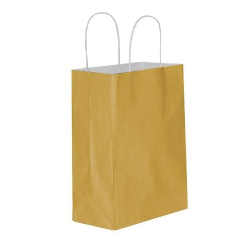 25 Adet Altın Baskısız Hediyelik Kraft Kağıt İp Saplı Çanta