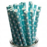 25 Adet Beyaz Puantiyeli Mavi Karton Pipet, Benekli  Parti Pipeti