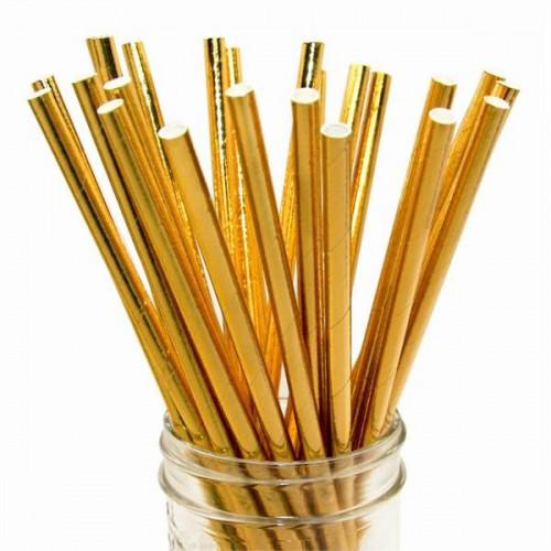 25 Adet Gold Altın Sarısı Karton Doğum Günü Parti Pipeti