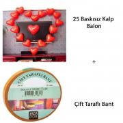 25 Adet Kalp Balon ve Çift Taraflı Bant Sevgiliye Özel