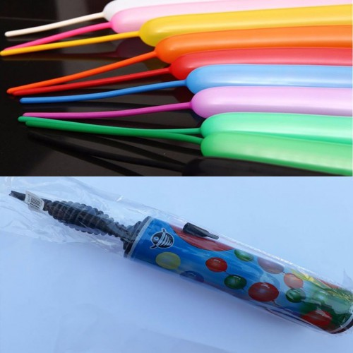25 Adet Karışık Renk Sosis Balon  +1 Adet Sosis Balon Pompası